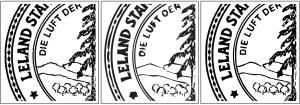Siegel der Stanford-Universität; die Ausgabe von AutoTrace zeigt Schwächen bei der Erkennung von Kanten, bspw. bei Stenen oder Punktelinien